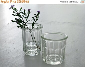 set of 2 antique french jam jars, very thick and faceted, Jam Pot , Jelly Jar, Jam Jar Glasses
