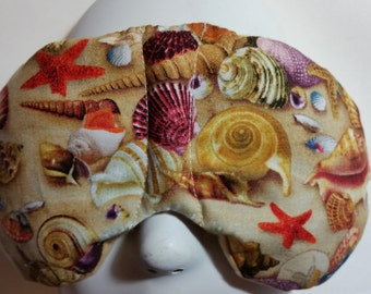 Herbal Hot/Cold Therapy Sleep Mask with adjustable and removable strap Sea Shells