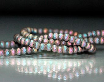 30 pcs 3x2mm Frost Fire Polished Metallic Peacock Rainbow Matte Faceted Rondelle Glass Beads