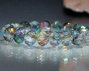 25 pcs 4x3mm Transparent Clear with Rainbow Firepolish Rondelle Glass Beads