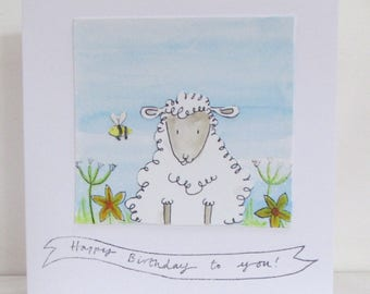 Watercoloured Sheep Birthday Card