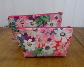 Cath Kidston Floral Print Pair Of Cosmetic Bags Zipped Pouches