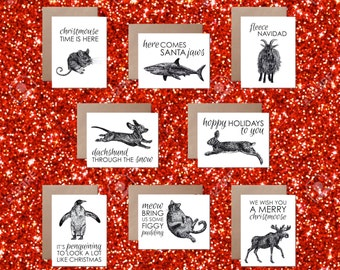 Animal Holiday Cards Animal Puns Set of 8 Clever Christmas Carols Funny Silly Holiday Card Set Cat Mouse Moose Shark Goat Penguin Dog Bunny
