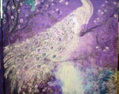 RESERVED for Susan - last installment - Magical Forest - White Peacock - on Stretched Canvas 40 x 32