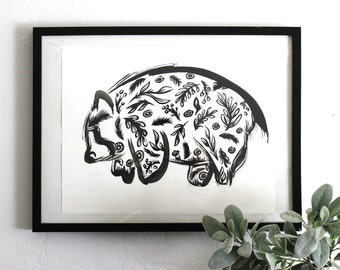 Ink Bear Print, Modern Bear, Abstract, Woodland, Art Prints, Minimal, Forest, Wall Décor