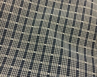 Plaid upholstery fabric black taupe country square dot destash