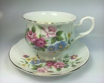 Staffordshire England fine bone China multicolor floral tea cup set