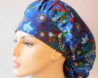 Medical Bouffant Scrub Hat Blue Jean Baby with Butterflies and Bluebirds with a Matching Headband