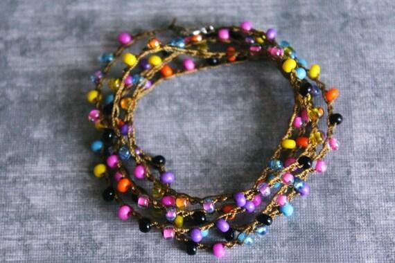 colorful wrap bracelet beaded bracelet boho by almostfamousa