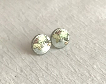 World Map Earrings, silver stainless steel posts studs small pierced stud post 12mm hypoallergenic travel gift for her