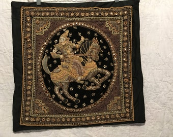 """Vintage Kalaga Pillowtop   Decorative Beaded and Sequined  Wallhanging   20""""x 22"""""""