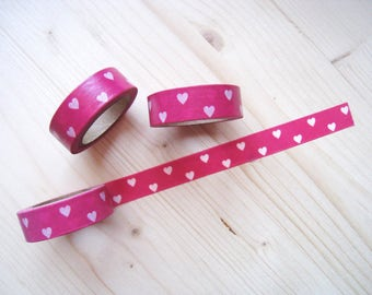 Valentine Hearts Washi Tape - Hot Pink and White Hearts Washi Tape - 10 mt - Decorative Paper Tape - Hot Pink and White Hearts Planner Washi
