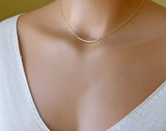 Gold Bar Necklace, Minimal Simple Everyday Necklace, Dainty Layering Necklace, Gift for Her, 14k Gold Fill, Sterling Silver, Rose Gold