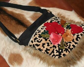"FOXY VIXEN...Vintage Rockabilly Pinup Girl Purse Betsy Johnson ""style"" Leopard Rabbit Satin Rose Felt Flower"
