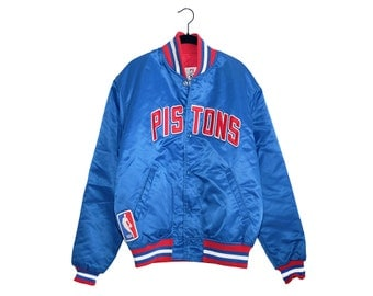 Vintage Detroit Pistons Official NBA Authentics Logo Bright Starter Nylon Jacket New Old Stock, Made in USA - Large