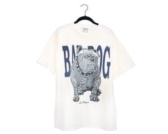Vintage BAD DOG Bulldog Las Vegas 100% White Cotton Crewneck T-Shirt, Made in USA