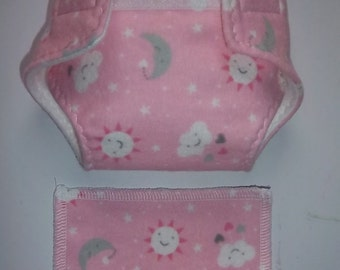 Baby Doll Diaper/wipe - the sun, stars, moon, clouds and tiny hearts on pink  - adjustable for many dolls such as bitty baby