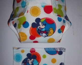 Baby Doll Diaper/wipe - multi color and multi size balls and Mr. mouse  - adjustable for many dolls such as bitty baby