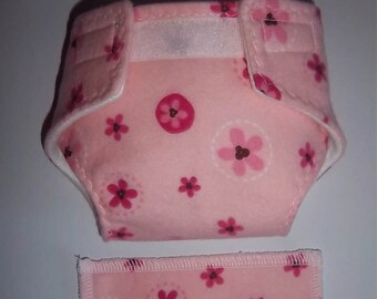 Baby Doll Diaper/wipe - pink on pink  - adjustable for many dolls such as bitty baby