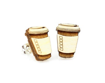Coffee Studs -  Laser Cut Earrings from Reforested Wood
