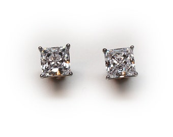 Sterling Silver 6mm Princess Cut Crystal Stud Earrings