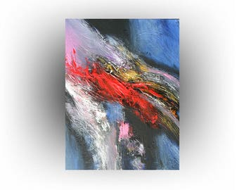 ORIGINALWall Art Home DecorAbstract Painting Red Blue Canvas -20 x 16 - Skye Taylor Artist