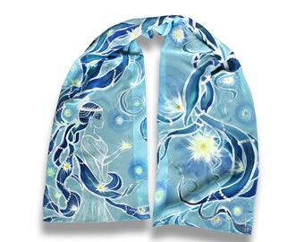 Varda, beautiful hand-painted azure scarf, elven art, night queen, fantasy, Silmarillion, fanfiction by Tolkien, Holy Sophia, cyan art scarf