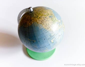 "Vintage Small World Globe 6"" inches 70s World Map Green Base"