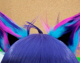 Spiky Turquoise Nebula and Black Clip on Cat Ears