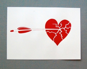 Heart Break - Red - original limited edition screen print