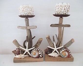 Pair Nautical Driftwood Anchor Candle Holders, Shell Votives, Shells/Starfish