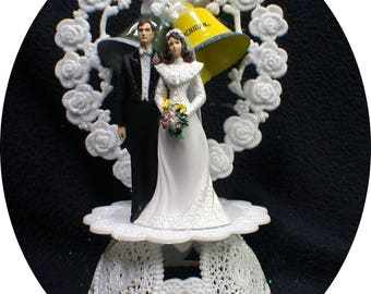 Michigan Wolverines vs Michigan State Spartans Bell HAPPY Rival Football ball Wedding Cake Topper Touch Down #1 sports groom top