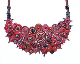 Statement necklace red, bib necklace red, Cloud Design Collection, gift for her, gift for woman - Handmade textile jewelry ready to ship