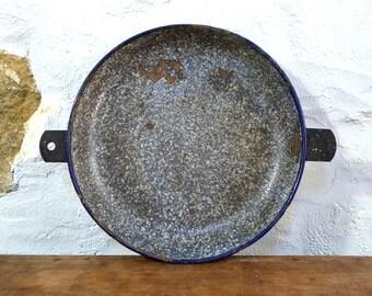 French enamelware pie tin baking tin enamel vintage bakeware grey graniteware chippy worn distressed well used