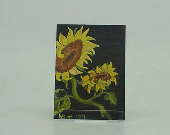 "Original Aceo Sunflower Painting ""  Love """