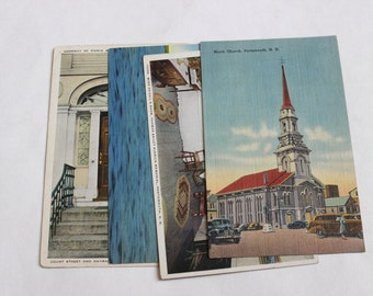 4 Vintage Portsmouth New Hampshire Postcards Used