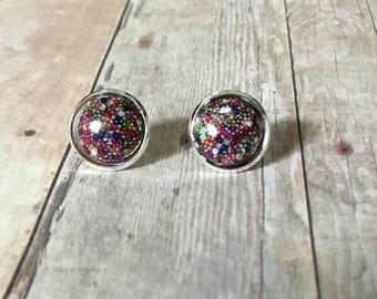 Nickel free!  Rainbow pearl glitter studs