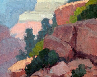 """Grand Canyon Original Plein Air Oil Painting """"Cloudforms Over Hopi Point"""""""