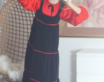 SALE Fairy Tale Dress Vintage 70s Hippie Babydoll Velvet Poet Sleeve Dress