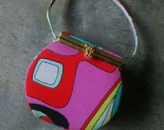 Vintage Mod Psychedelic Structured Top Handle Boxy Bag