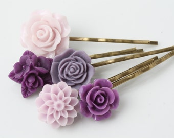 Purple Flower hair pins set, Set of 5 hair pins, vintage style hair pins, hair accessories, flower hair pins, shabby chic, Made in Canada