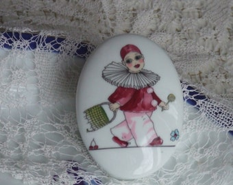 Vintage Porcelain Pierrot Pill Box. Made in Bavaria, Western Germany for Hummelwerk. Pierrot Child With a Torn Basket.  . Ring Box.