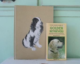 The VINTAGE BOOK SET of 2...instant collection. grammar. secrets. dogs. golden retriever. nonfiction. fiction. home decor. antique. animals