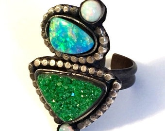 HOLIDAY SALE Uvarovite and opal sterling silver ooak ring