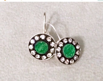 ON SALE Russian uvarovite sterling silver earrings