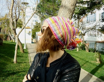 Hand Knit COLORFUL Slouchy BEANIE,COWL,2 in 1,womens hat,unisex,scarf,pompom,teenage