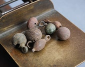Set of 8 Antique brass pendants, charms, connector, finding, dark patina
