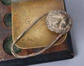 Antique metal plate, head of lion. Part of embellishment