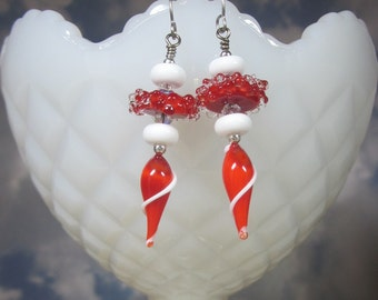 """Sterling Silver Earrings - """"Candy Cane"""" -Artisan Lampwork Glass, Swarovski Crystals, Unique, One of a Kind, SRAJD, OOAK"""