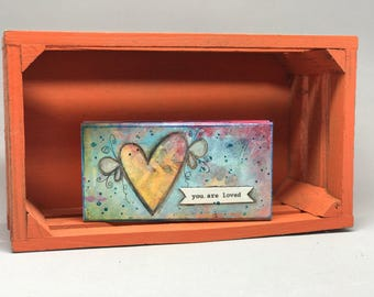 """You are Loved Wood Block; 2x5x.75"""""""